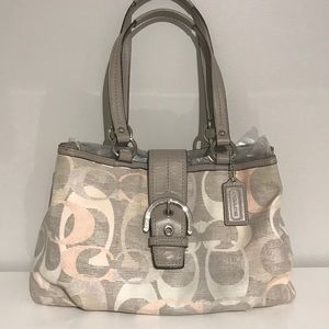 Handbags - Coach Signature Gray Soho Optic Linen/Leather Tote